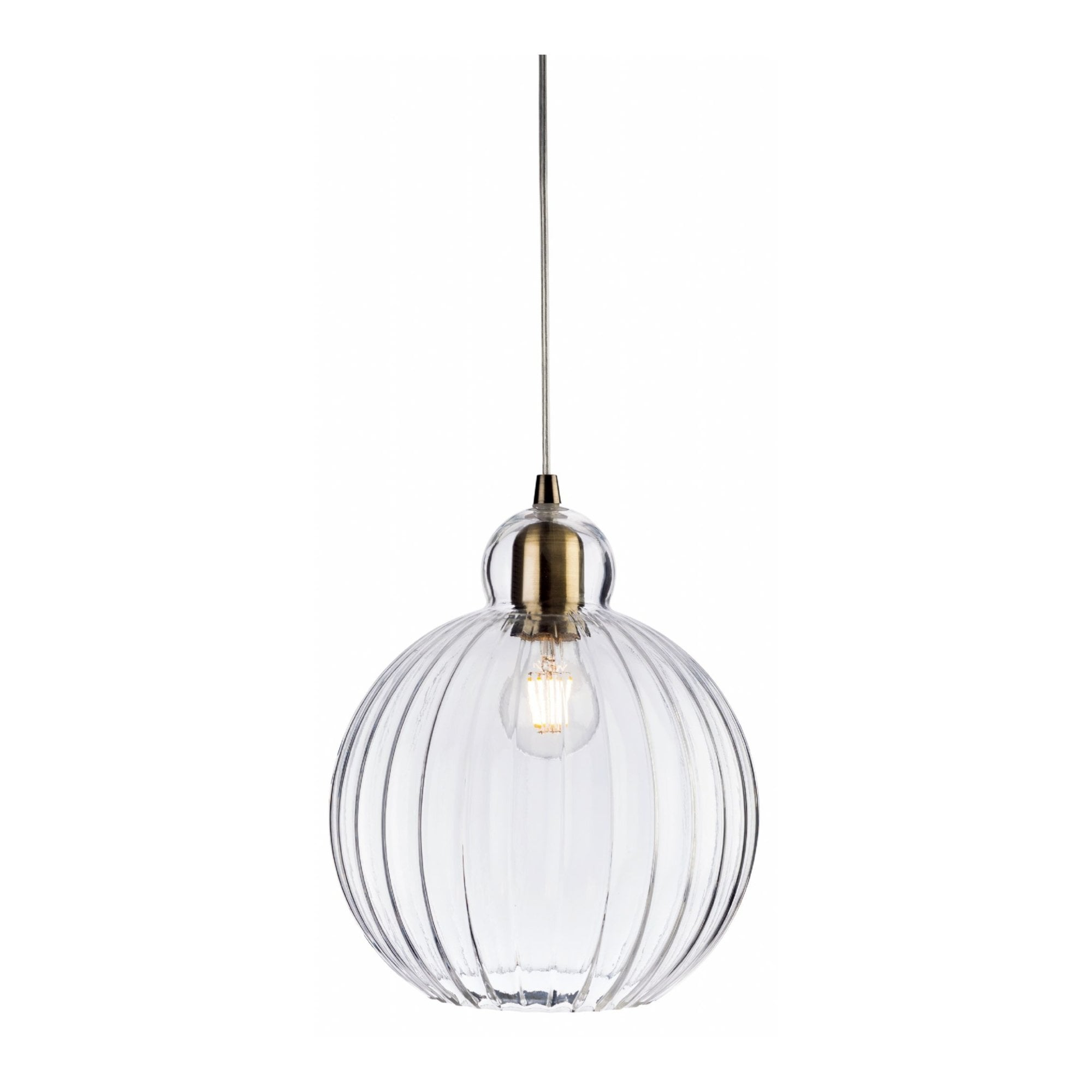 Picture of: Victory Indoor 1l Globe Pendant Light Antique Brass Clear Glass Firstlight Leader Lights